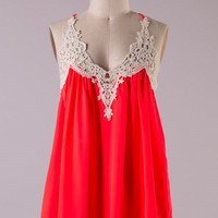 Tank Top With Lace Detail - Neon Tomato