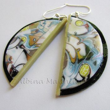 Glow in the Dark Polymer clay Earrings by AroundBeads on Etsy