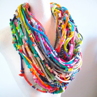Technicolor Chunky Infinity Scarf Tribal Gypsy Fall Fashion Knotty Bits Cowl Scarf Upcycled Clothing Bright Colors Boho Gifts Under 100