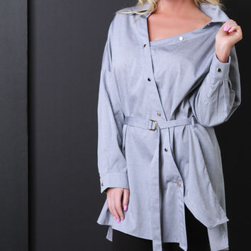Asymmetrical Button-Up Smock Top