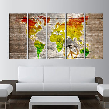 watercolor world map canvas art, world map wall art, Large wall Art, large canvas print, extra large wall art, old world map wall art  t9b