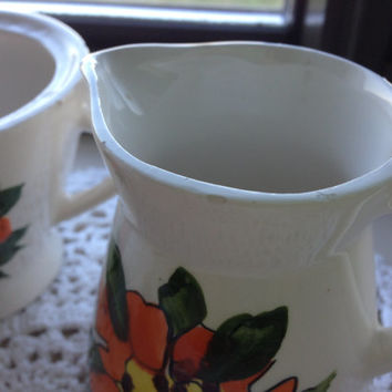 Vintage Orange Floral Sugar and Creamer Set Made In Japan