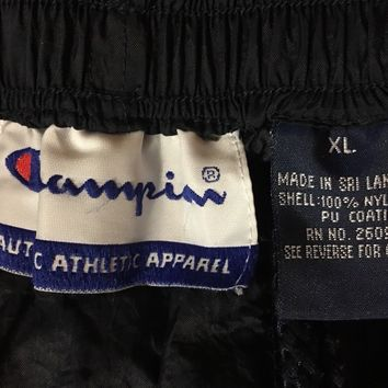 VTG CHAMPION Windbreaker Pants Ankle Zipper Navy Blue XL Lightweight Authentic