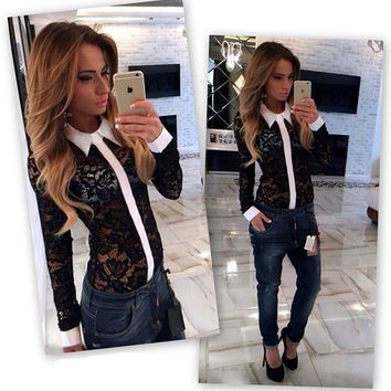Fashionable Women Shirts 2015 Autumn Fashion Lace Female Perspective Blouses Hollow Out Long Sleeve Designer-Clothes-Cheap