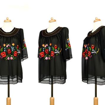 70s Hungarian Ethnic Blouse - Vintage Sheer Top With Rich Floral Embroidery, Smocked Neck And Crochet Edges