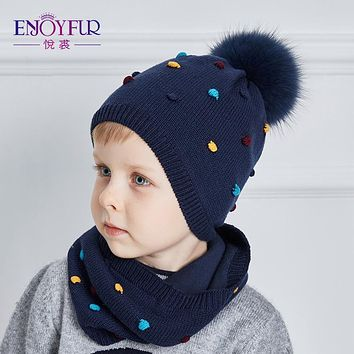 ENJOYFUR 2017 Cotton Boy Hat And Scarf Set High Quality Kintted Winter Caps With Real Fox Fur Pom Pom Cute Children Hats