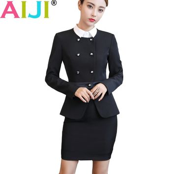 Winter OL business women pants suits formal long sleeve double breasted blazer and trousers slim s-4xl office ladies work wear