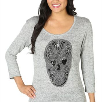 Three Quarter Sleeve Sweater with Sequin Skull Patch