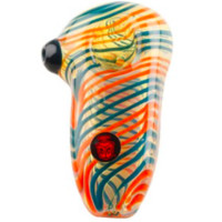 Dynomite Glass - PIN STRIPED SWIRLED ICE CUBE PIPE