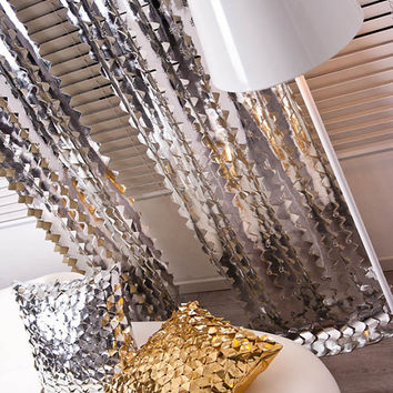 "Silver Glitter Zigzag cutting Curtain Drapery Panel 27.5""W X 90.5""L 1Panel Room Divider Living room,Bed room"
