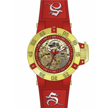 Invicta 16790 Women's Subaqua Mechanical Gold Skeleton Dial Red & White Silicone Strap Dive Watch