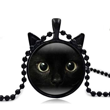 Cute Black Cat Art Picture Pendant Statement Chain Necklace