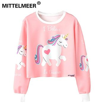 MITTELMEER 2018 bts Harajuku Sweatshirt Woman girls crop top Cartoon unicorn cat Animal fruit printing short Sweatshirt Hooded