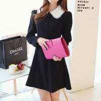 Black Lapel Collar Dress