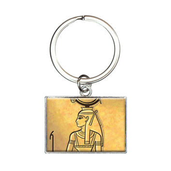 Hathor Ancient Egyptian Goddess Rectangle Keychain