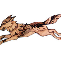 Wood Wolf Wall Hanging with Pyrography (Wood burning), Wall art, wolf decor, wolf art, woodland art, woodland decor, forest animals, uk,