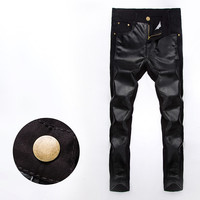 Mens Cool Faux Leather Front Jeans