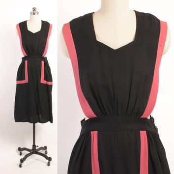 Vintage 40s Pinafore DRESS / 1940s Black & Pink Rayon Sleeveless Jumper Dress S