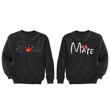 XtraFly Apparel Soul Mate Valentine's Matching Couples Pullover Crewneck-Sweatshirt