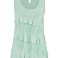 Tiered Ruffle Front Tank With Keyhole Back