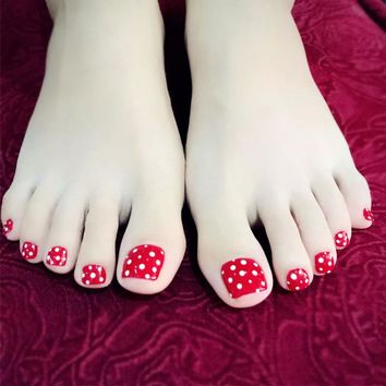 24 Pcs False Toe Nails with Designs Tips Candy Red Base White Dots Toenail Pedicure Patches Diy Press on Fake Toe Nail Gift New
