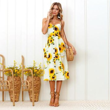 Strap Sunflower Print Summer Dress Women Casual V Neck Backless Bohemian Dress Vestidos High Waist Midi Dress Female 25 Colors