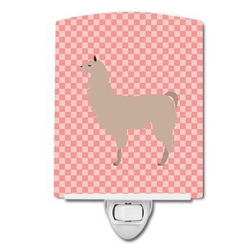 Llama Pink Check Ceramic Night Light BB7916CNL