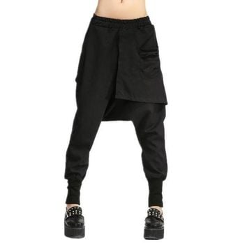ICIKWJ7 Autumn Women Drop Crotch Baggy Pants Hip Hop Patchwork Harem Pants Solid Elastic Waist Pencil Trousers Punk Street Sweatpants 10