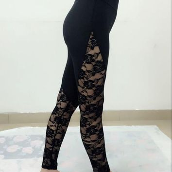 Black Patchwork Lace High Waisted Sports Yoga Workout Long Legging