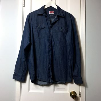 Wrangler men's blue denim button down long sleeve shirt sz M