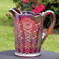 Vintage Glass Pitcher, Heirloom Series Iridescent Sunset Indiana Carnival Glass J-1537
