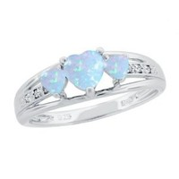 Sterling Silver Created Opal and Diamond Accent Three-Heart Ring, Size 7