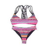 Reversible Criss-cross Back Multi-Color Navy Tribal Print  Cheeky Cut Bikini