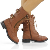 NEW Womens Lace Up Combat Military Midcalf Boots w/ Buckles - Trendy Fashion