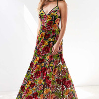 Ecote Lilyhandra Floral Velvet Burnout Maxi Dress - Urban Outfitters