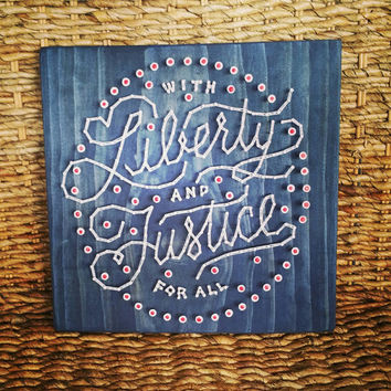 Patriotic String Art Sign, Liberty and Justice For All Home Decor, Red White and Blue Wall Hanging, Unique Fourth of July Wood Sign