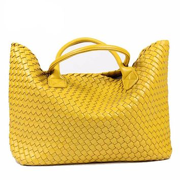 PU Leather Woven Shoulder Bags Tote