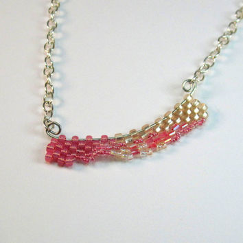 Pink Freeform Peyote Beaded Wave Necklace Gifts under 20