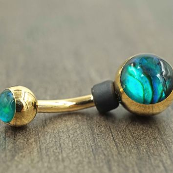 Abalone Shell Gold Belly Button Ring