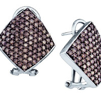 Cognac Diamond Ladies Fashion Earrings in 10k White Gold 1.9 ctw