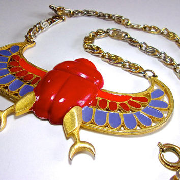 Egyptian Revival KRAMER Necklace, Red Scarab, Blue Wings, Enamel, Vintage