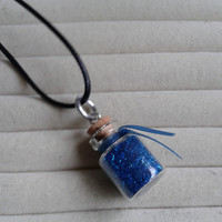 Closing sale - fantasy blue glitter  fairy dust small bottle  charm  pendant necklace