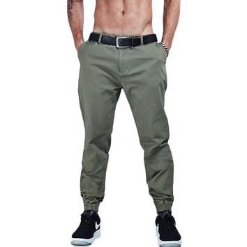 Solid Color Cotton Twill Jogger Pants