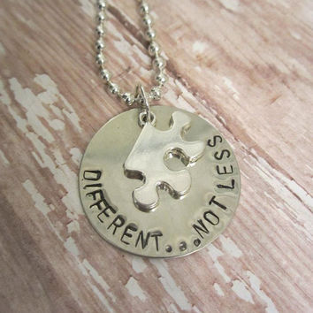 Handstamped german silver pendant says Different Not Less perfect for Autism Awareness puzzle piece charm