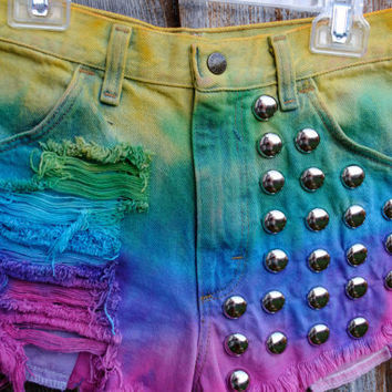 Rainbow Hipster Tumblr Shorts by CarlynsCutoffs on Etsy