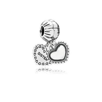 Fits Pandora Original Charms Bracelet Original 925 Sterling Silver Bead European Charm Love My Sister Pendant DIY Women Jewelry