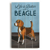 Better With A Beagle Wood Sign