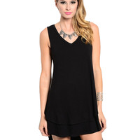 Sleeveless Layered A-Line Jersey Knit Tunic