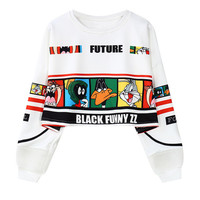 Digital Looney Tunes  Cropped  Sweatshirt