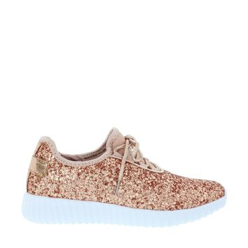 Glitter Lace Up Sneaker (ROSE GOLD)